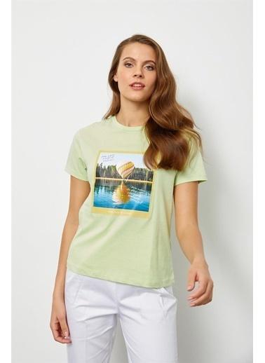 Setre Mint Baskılı Kısa Kol T-Shirt Yeşil